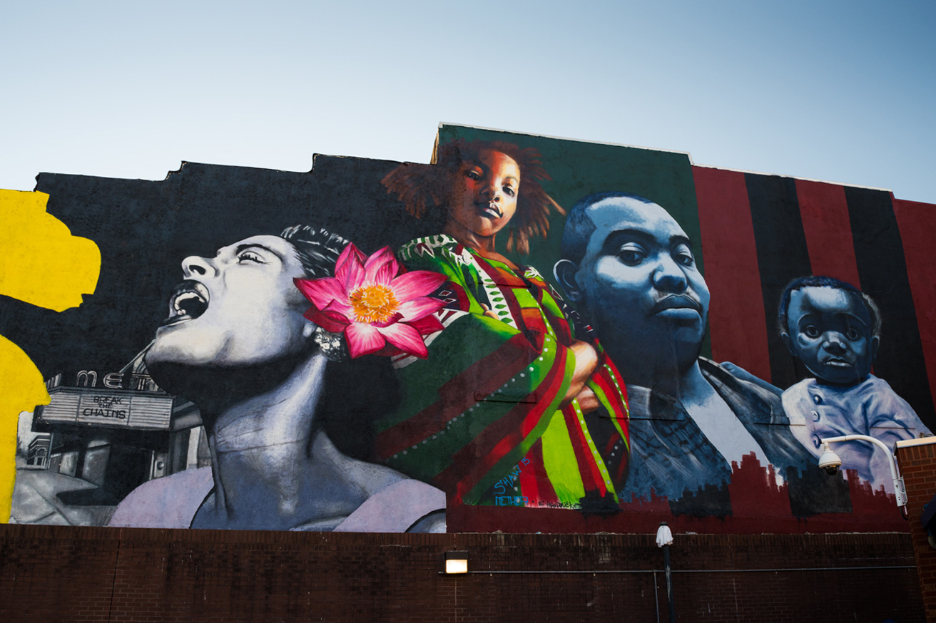mural of billie holiday and Baltimore family